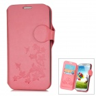 Flower Style Protective PU Leather Case for Samsung Galaxy S4 i9500 - Pink