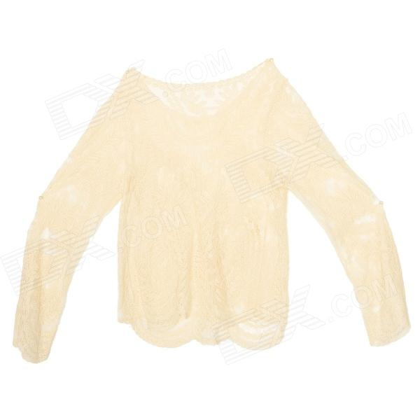Fashionable Lady Skeleton Lace Long Sleeves Cotton Blouse / Shirt for Women - Beige
