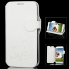 Protective PU Leather Cover Plastic Hard Back Case for Samsung Galaxy S4 i9500 - White + Black