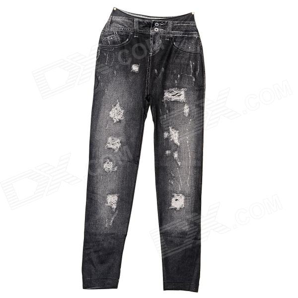 Women's Stylish Jeans Style Elastic Cropped Spandex Leggings - Black
