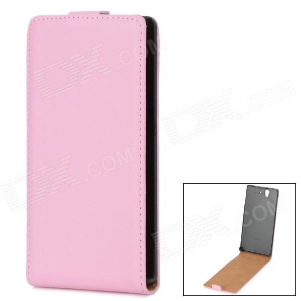 Protective PU Leather Cover Plastic Back Case for Sony Xperia Z L36H - Pink + Black