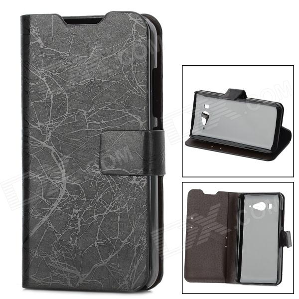 Lightning Pattern Protective PU Leather Cover TPU Hard Back Case Stand for XiaoMi M2 - Black nice soft silicone back magnetic smart pu leather case for apple 2017 ipad air 1 cover new slim thin flip tpu protective case