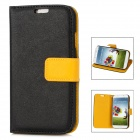 Protective PU Leather Cover Plastic Hard Back Case for Samsung Galaxy S4 i9500 - Yellow + Black