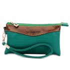 Handheld Casual PU Zipper Wallet Bag - Deep Green + Coffee