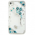 Sparkling Butterfly Relievo w/ Crystal Protective Plastic Back Case for Iphone 4S / 4 - White + Blue