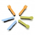 Mini Tableware Style Paper Photo Note Clip Clamp w/ Strap - Blue + Yellow + Green (6 PCS )