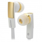 E810 Super Bass In-Ear Earphone - White + Golden (3.5mm Plug)