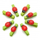 086-1066 Mini Lady Beetle Style Paper Photo Note Clip Clamp w/ Strap - Red + Black + Green (8 PCS )