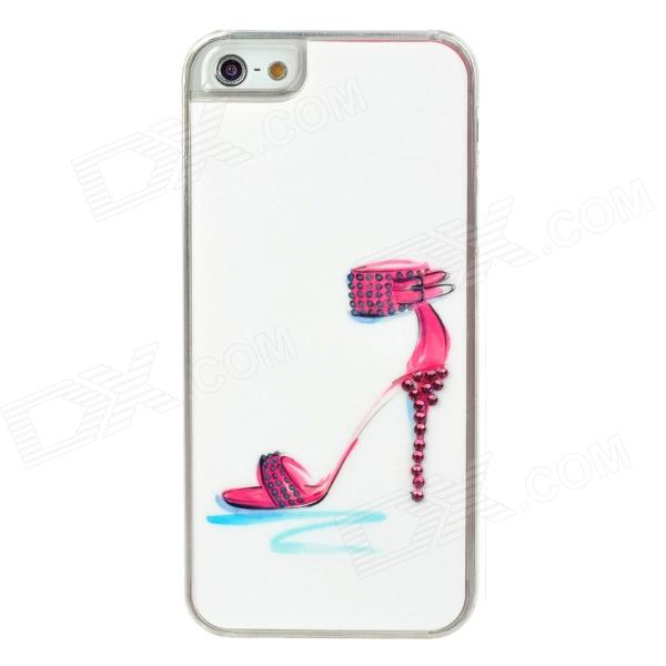 Sexy High Heel Sandal Pattern w/ Sparkling Crystal Protective Back Case for Iphone 5 - White + Red london pattern protective plastic back case w front screen protector for iphone 5 grey red