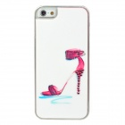 Sexy High Heel Sandal Pattern w/ Sparkling Crystal Protective Back Case for Iphone 5 - White + Red