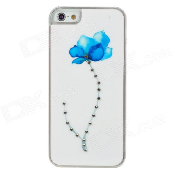 Elegant Blue Flower Pattern w/ Sparkling Crystal Protective Back Case for Iphone 5 - White + Blue