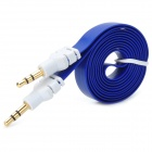 3.5mm Male to Male Audio Connection Flat Cable - Deep Blue + White (100cm)