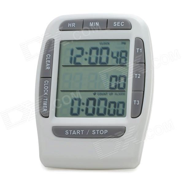 ZhuiRi PS-370 2.3'' LCD Three Channel Countdown Timer Clock w/ Stand - White + Grey (2 x L1154)