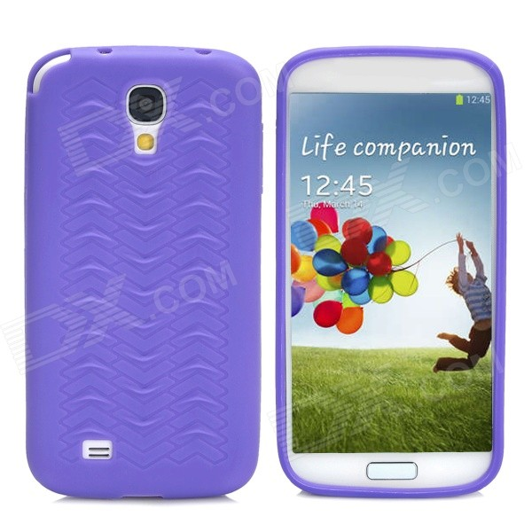 Protective Anti-Slip Tyre Tire Tread Style Plastic Back Case for Samsung Galaxy S4 i9500 - Purple no hurting rim tyre wrench