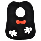 Red Bow Pattern Baby's Bib w/ Velcro Buckle - Black + White + Red