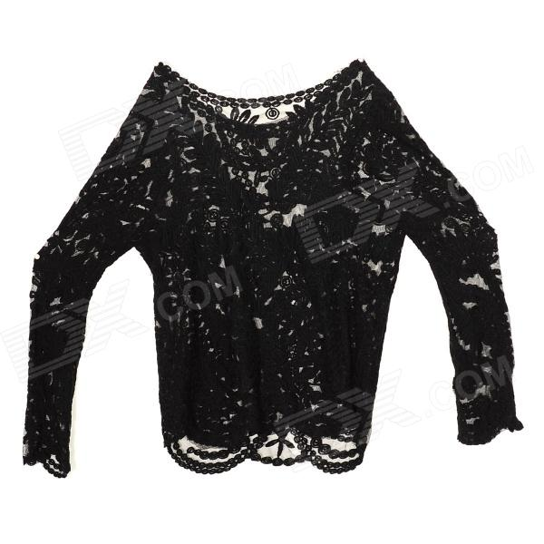 Women's Fashionable Hollowed Cotton Blouse - Black