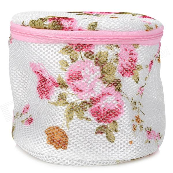 Flower Pattern Polyester Mesh Folding Delicates Bra Wash Bag - White + Pink + Green