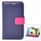 Protective PU Leather Flip-Open Case w/ Strap for Samsung Galaxy S4 / i9500 - Deep Blue + Deep Pink