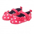 Cute Dot & Flower Pattern Velcro Cotton Baby Shoes - Red + White (0~6 Months / Pair)