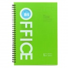 PU Cover Loose-Leaf & Spiral Business Notebook - Green + White (80-Sheets)