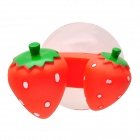 Creative Strawberry Style Bathroom Toothbrush Holder w/ Suction Cup - Red + Green + White