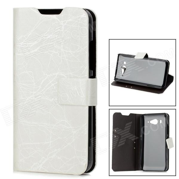 Lightning Pattern Protective PU Leather Cover TPU Hard Back Case Stand for XiaoMi M2 - Black + White