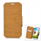 Wood Grain Style Protective PU Leather Case for Samsung Galaxy S4 i9500 - Wood