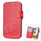 Flower Style Protective PU Leather Case for Samsung Galaxy S4 i9500 - Red