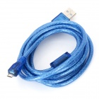 USB 2.0 Male to Micro USB Male Data Cable - Translucent Blue (1.5m)