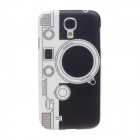 ITOP SLR Cameras Style Plastic Back Case w/ Screen Protector for Samsung S4 i9500 - Black + White