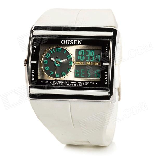OHSEN Fashionable Sport Men's Digital + Analog Quartz Wrist Watch - White (1 x CR2032)