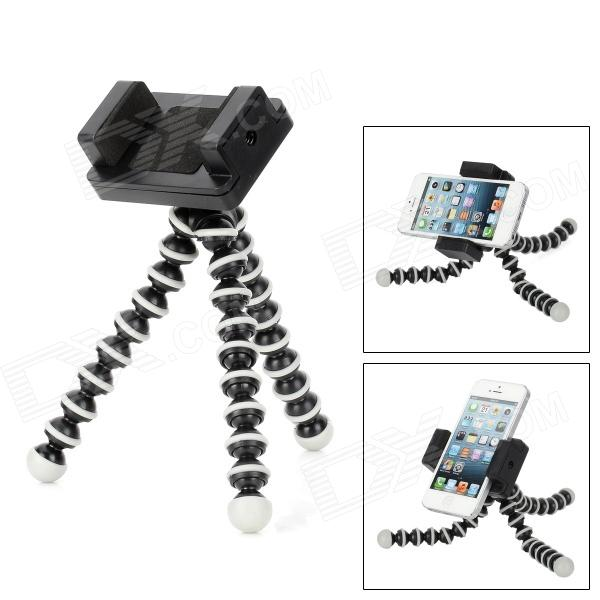 Universal Holder Tripod for Cellphone / Digital Camera - Black + Grey universal 2 in 1 0 65x wide angle macro lens glass filter for cellphone tablet pc black
