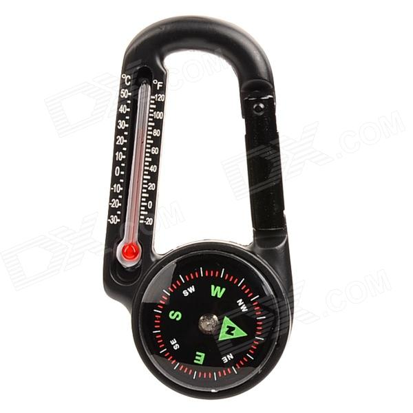 T27 2-in-1 Thermometer Compass Carabiner - Black