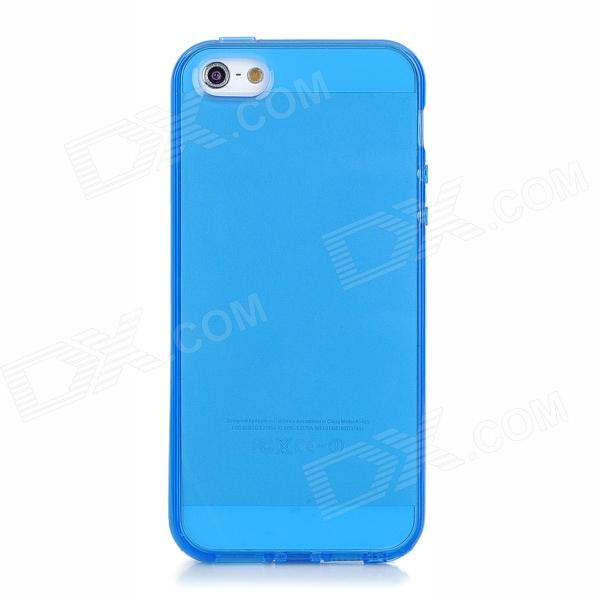 Protective TPU Soft Back Case for iPhone 5 w/ Anti-Dust Plug - Translucent Blue