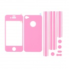 i-Color Protective PET Skin Stickers Set for Iphone 4S / 4 - Pink