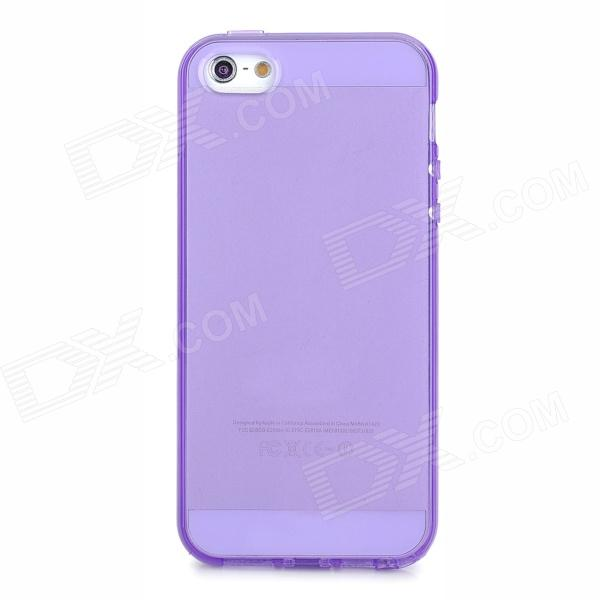 Protective TPU Back Case w/ Anti-dust Plug for Iphone 5 - Translucent Purple
