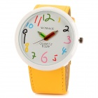 WOMAGE 8329 Cartoon Round Dial Artificial Leather Band Quartz Watch - Yellow