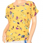 Women's Fashionable Birdie Pattern Chiffon Dolman Sleeved T-shirt - Yellow (L)