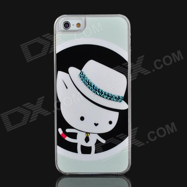 Cartoon Mouse Pattern Protective Plastic Case for Iphone 5 - White + Black + Light Green cartoon pattern matte protective abs back case for iphone 4 4s deep pink