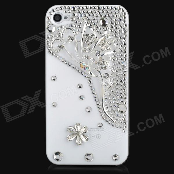 Butterfly Pattern w/ Rhinestones Protective Plastic Back Case for Iphone 4S - White + Silver iris pattern protective plastic back case for iphone 4 4s white