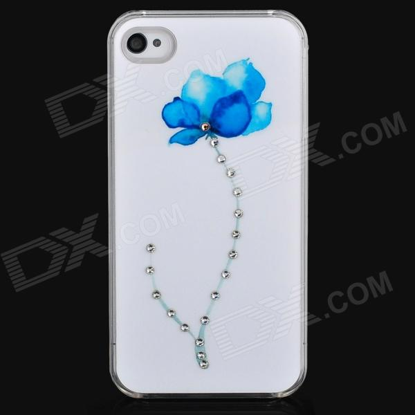Flower Pattern Protective Plastic Back Case w/ Rhinestone for Iphone 4 / 4S - White + Blue + Silver iris pattern protective plastic back case for iphone 3g white