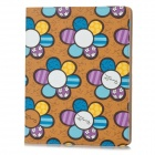 Flowers Style Protective PU Leather Case for iPad 2 / 3 / 4 - Brown + Multicolor