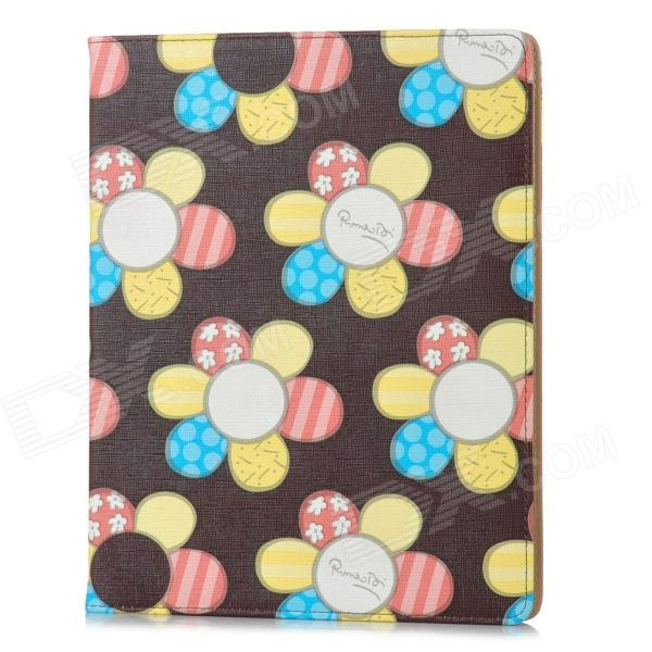 Flowers Style Protective PU Leather Case for Ipad 2 / 3 / 4 - Dark Brown + Multicolor ipad 4 in 1 photo lens