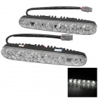 Water Resistant Universal 6W 240lm 6-LED White Car Daytime Running Light (12V / 2 PCS)