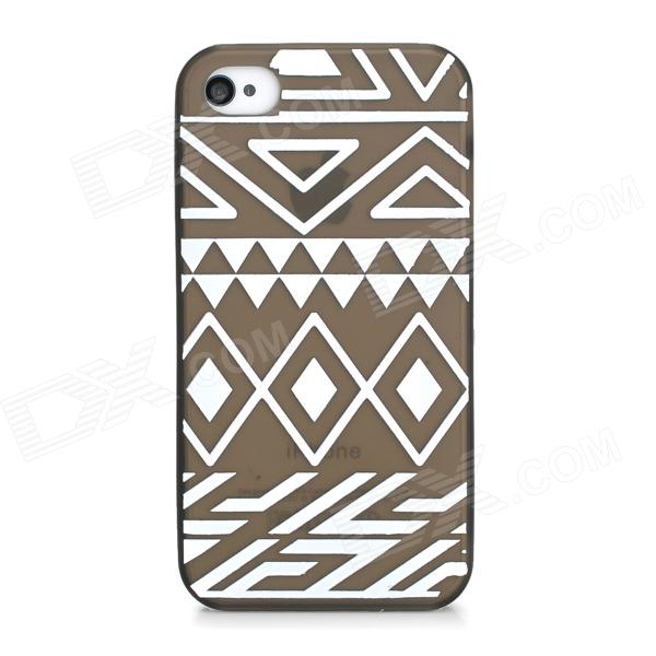 Silk Printing Pattern Protective PVC Back Case for Iphone 4S - Light Brown + White