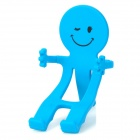 Bendable Smiling Person Holder Stand for Iphone / Samsung / Cellphone - Blue