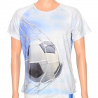 XINGLONG Men's Football Scoring Pattern Nylon T-shirt - White + Blue (XL)