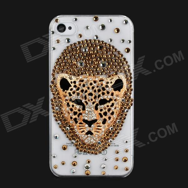 Cool 3D Leopard Head Style Protective Plastic Back Case for Iphone 4 / 4S - Transparent + Golden cool skull head style protective soft silicone back case for iphone 4 4s pink