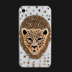 Cool 3D Leopard Head Style Protective Plastic Back Case for iPhone 4 / 4S - Transparent + Golden