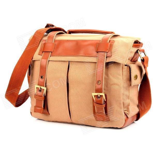 911BR Fashion Protective Canvas DSLR Camera Shoulder Bag - Brown цена